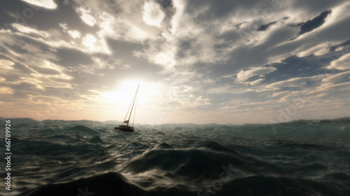 Lost sailing boat in wild stormy ocean. Cloudy sky. - 66789926