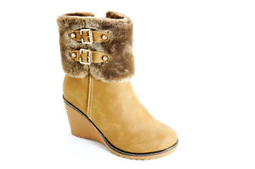 One women's winter boot with buckles