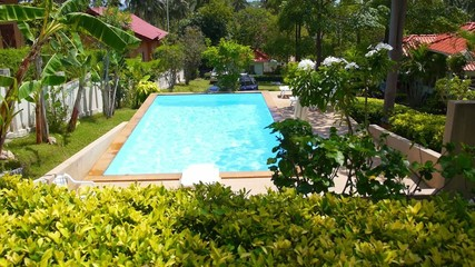Private Pool next to Tropical Island Villa. Picturesque Green