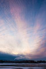 Calm beautifull sunrise at winter