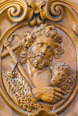 Leuven - Carved relief of Saint John the Baptist