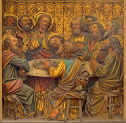 Bruges - relief of Last Supper in St. Salvator's Cathedral
