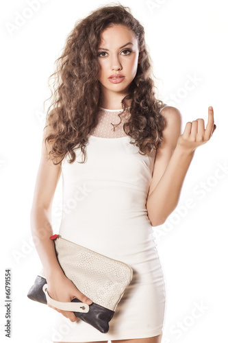 Poster pretty girl in a short white dress calls with her index finger