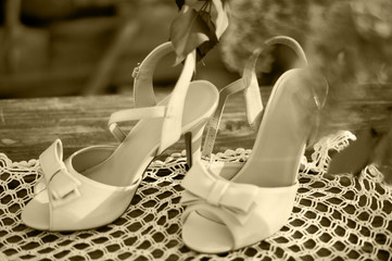 Wedding shoes on the table