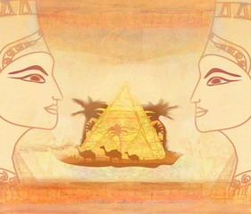 vintage card with Egyptian queen