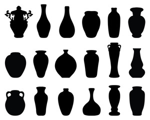 Black silhouettes of the jars and vases 2, vector