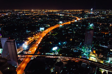 Night view over Bangkok city, Thailand