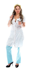 Sexy nurse standing on white background