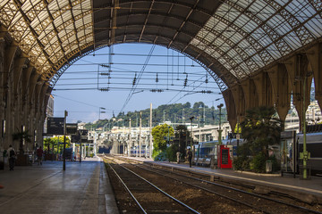 Nice, France. Platforms of the city railway station