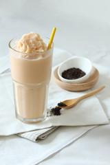 glass of milk tea smoothies