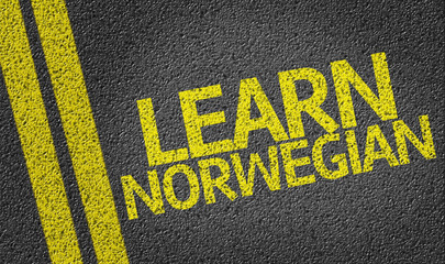 Learn Norwegian written on the road