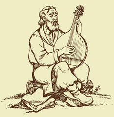 Vector drawing. Old Ukrainian musician plays the bandura