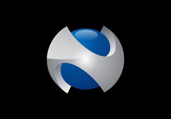 3D sphere N symbol vector