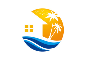 beach hotel vector icon and logo