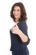 Glückliche ältere Frau isoliert mit Daumen hoch: Alter 50