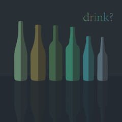 Bottles Icons. Flat Design. vector