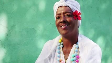 7of11 Portrait of old black cuban woman smoking cigar