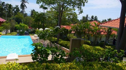 Summer Landscape Panorama. Azure Private Pool next to Tropical