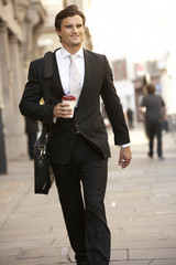 Businessman on the way to work