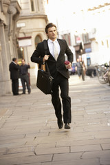 Businessman hurrying to work