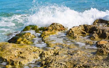 Wave crashing on the rocks