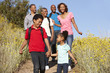 Multi-generation  family on country hike