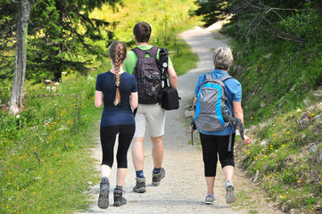 Walking family / Hikers in mountain