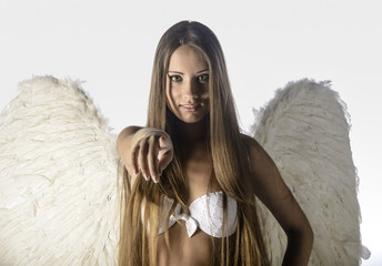 lingerie model with angel wings