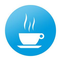 Etiqueta redonda taza de cafe