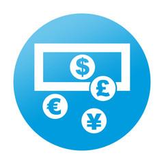 Etiqueta redonda cambio de divisas