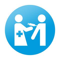 Etiqueta redonda vacuna
