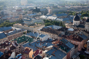 Overview from roof historic building in Lviv, Ukraine