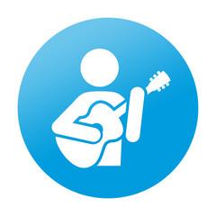 Etiqueta redonda guitarrista