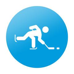 Etiqueta redonda hockey sobre hielo