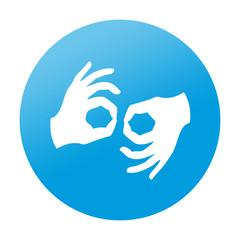 Etiqueta redonda lenguaje de signos