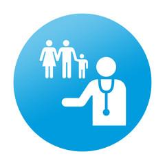Etiqueta redonda medico de familia
