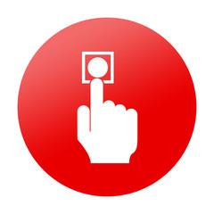 Etiqueta redonda boton de alarma