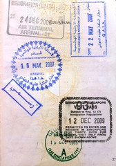 Jordan Singapore visa stamps in a European Union passport