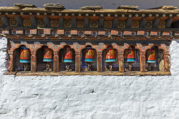 Buddhist prayer wheels in Thimphu, Bhutan