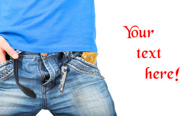 Man in jeans unzipped with a condom in pocket
