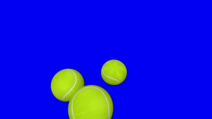 Tennis balls bouncing and rolling.