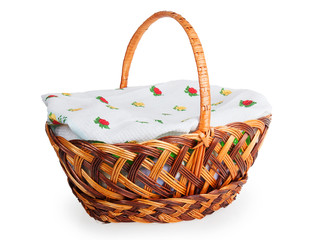 wicker basket covered with a towel