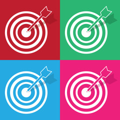 Bullseye and arrow in various colors