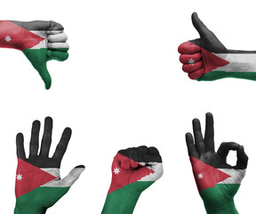 Hand set with the flag of Jordan