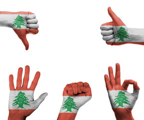Hand set with the flag of Lebanon