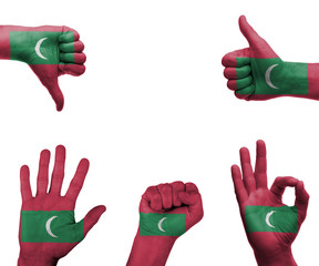 Hand set with the flag of Maldives