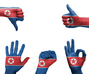 Hand set with the flag of North Korea