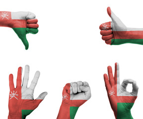 Hand set with the flag of Oman