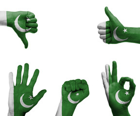 Hand set with the flag of Pakistan