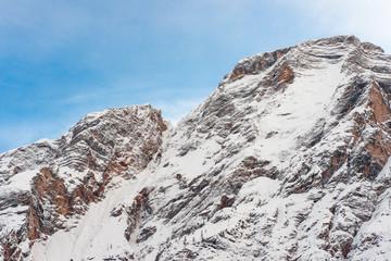 Mountains above lake Braies in Sudtirol